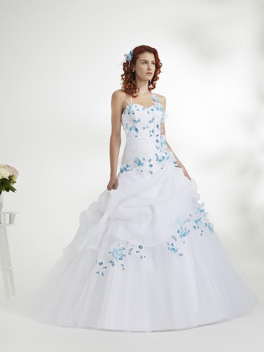 Robe de mariée bleu turquoise et blanche
