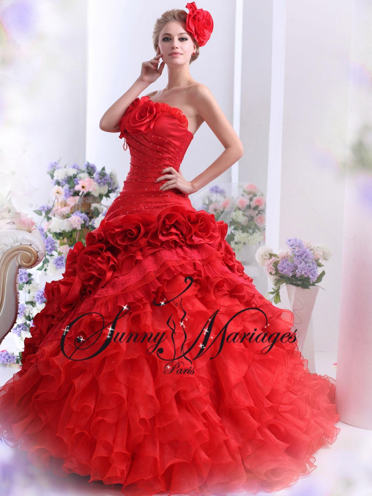 Robe de mariée couleur rouge