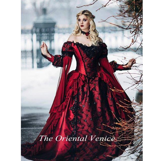 Robe de mariée gothique rouge et noir