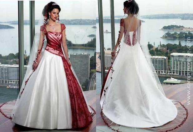 Robe de mariée rouge et blanche 2013