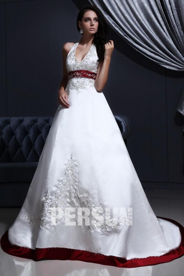 Robe de mariee blanche et rouge