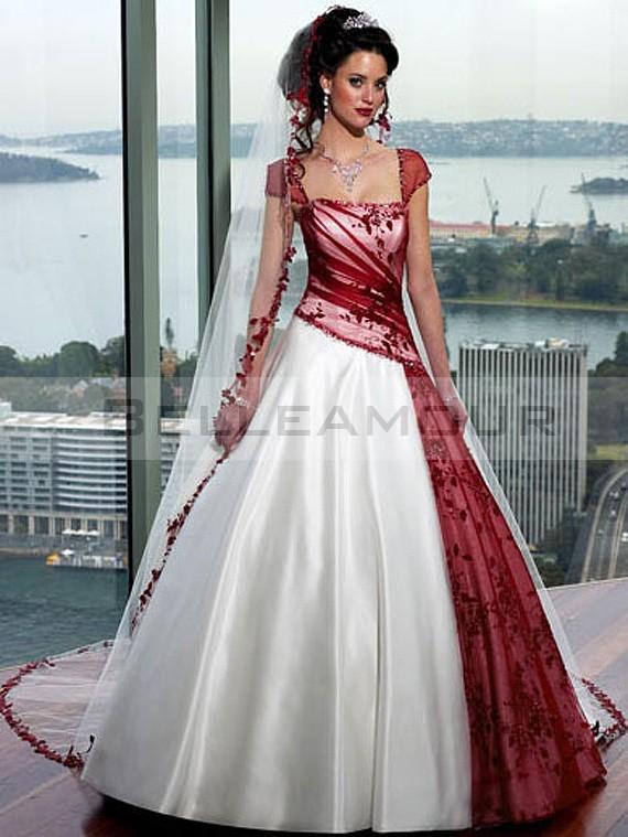 Robe de mariee rouge et blanc