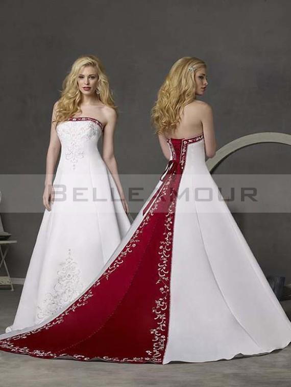 Robe de mariee rouge et blanche