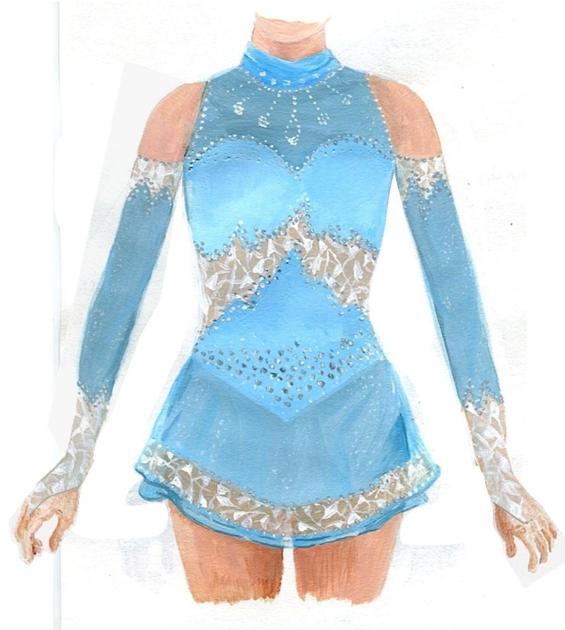 Robe de patinage artistique bleu