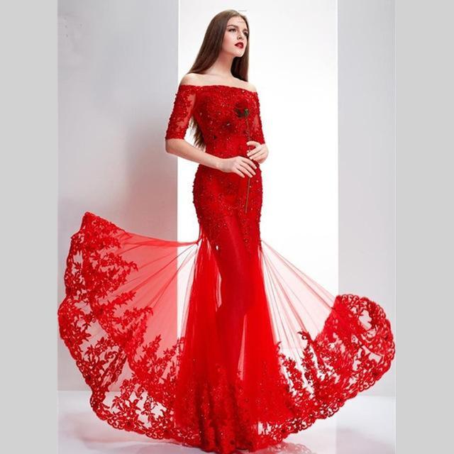 Robe de soirée 2015 dentelle rouge