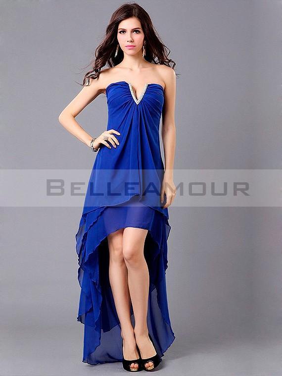 Robe de soirée bleu courte