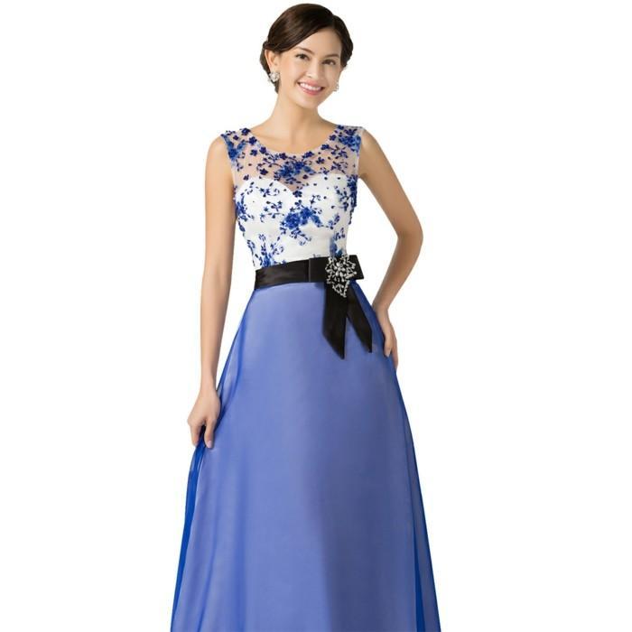 Robe de soirée bleu et blanc
