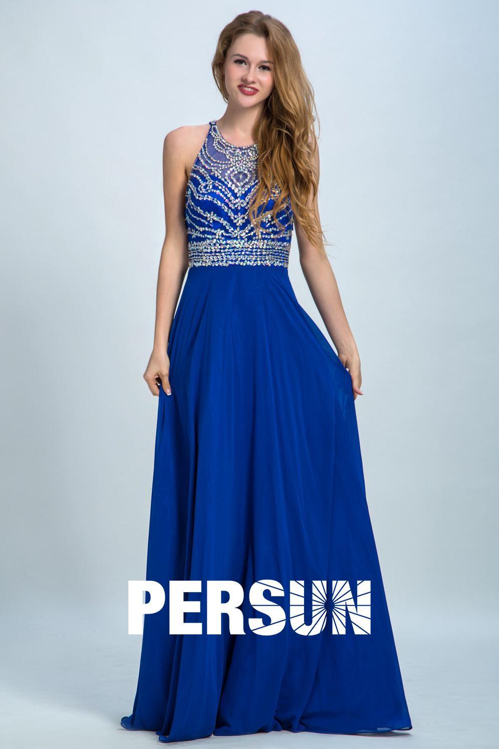 Robe de soirée bleu longue