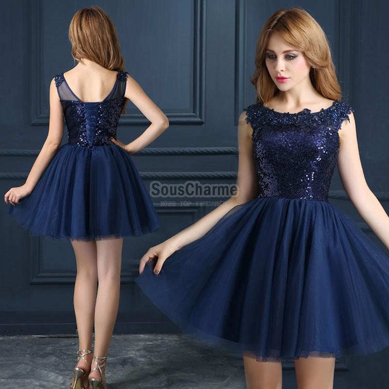 Robe de soirée bleu marine courte