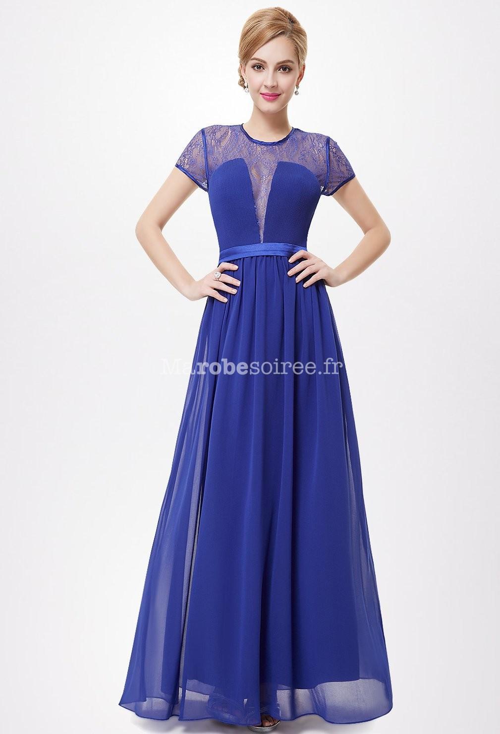 Robe de soirée bleu roi dentelle