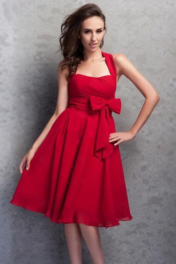 Robe de soirée courte blanche et rouge