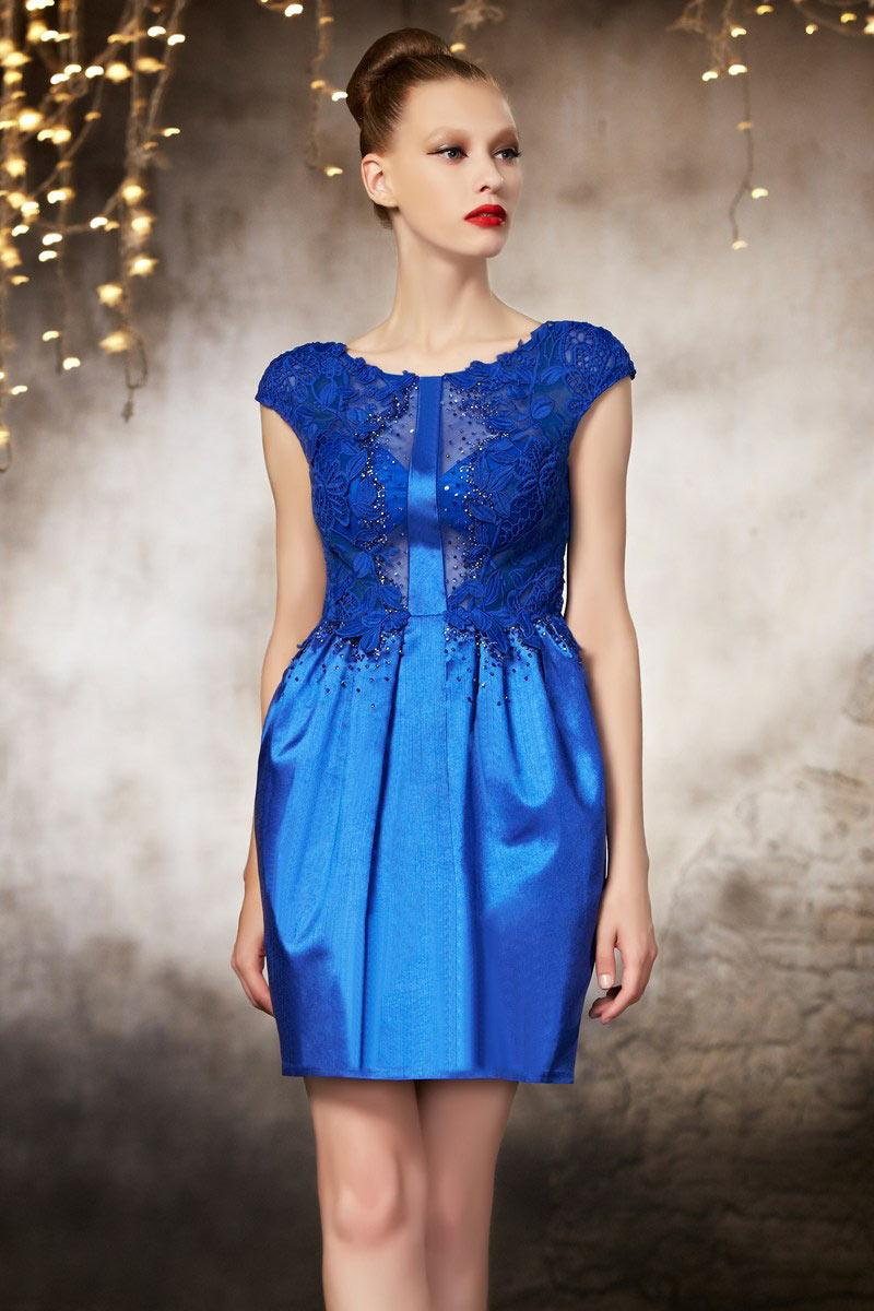 Robe de soirée courte bleu electrique