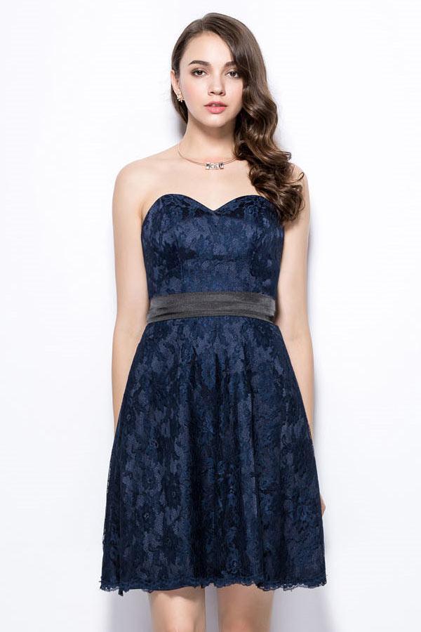 Robe de soirée courte bleu nuit
