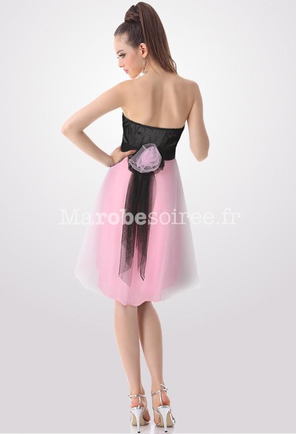 Robe de soirée courte noir et rose