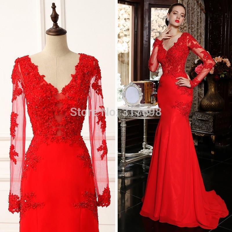 Robe de soirée dentelle rouge