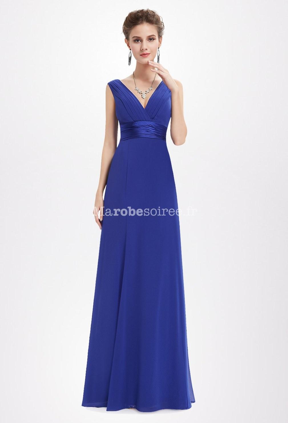 Robe de soirée longue bleu roi