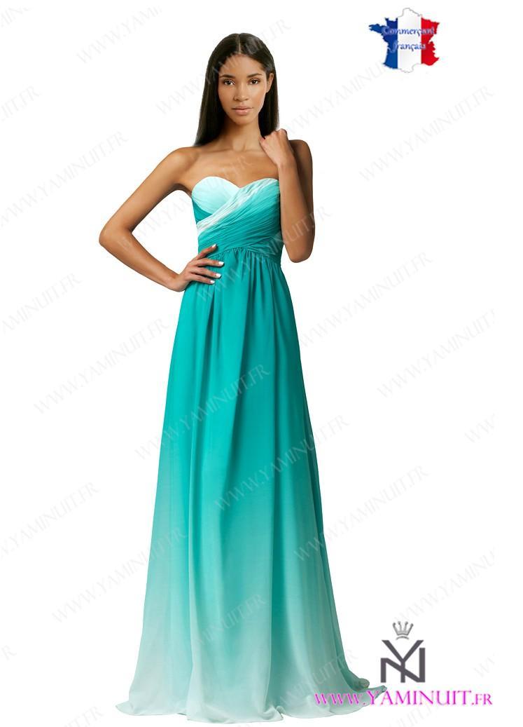 Robe de soirée longue bleu turquoise