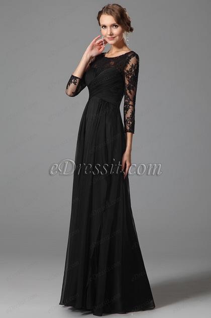 Robe de soirée longue dentelle noir