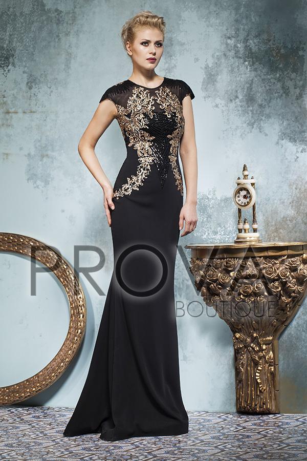 Robe de soirée noir et or
