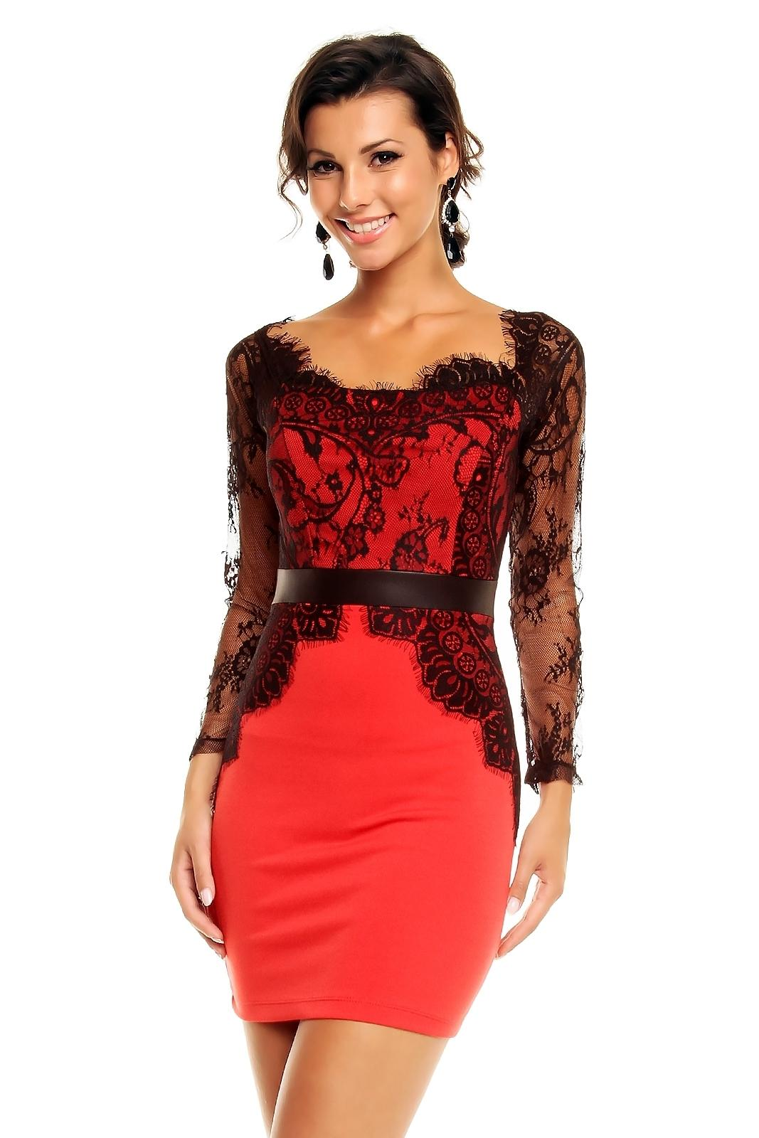 Robe de soirée noir et rouge