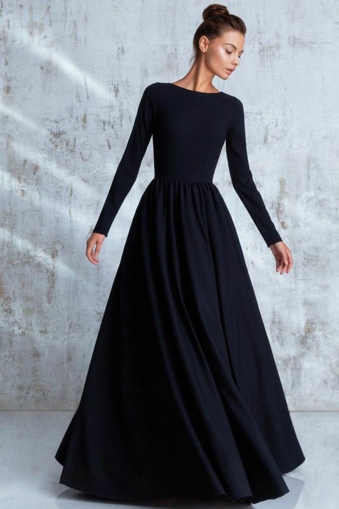 Robe de soirée noir manche longue