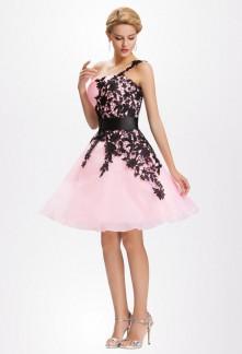 Robe de soirée rose et noir