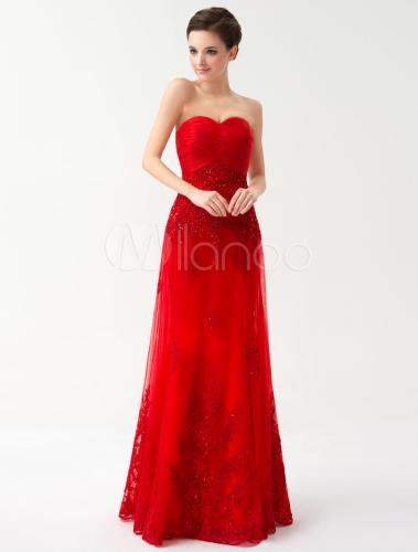Robe de soirée rouge bustier