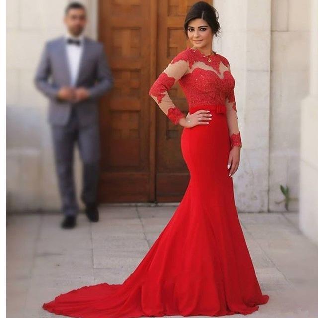 Robe de soirée rouge dentelle
