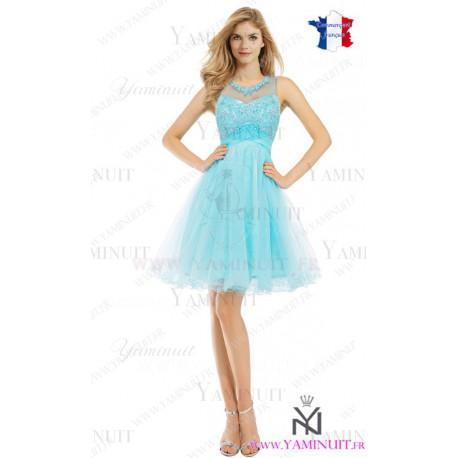 Robe demoiselle d'honneur bleu ciel