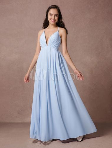 Robe demoiselle d'honneur bleu pastel