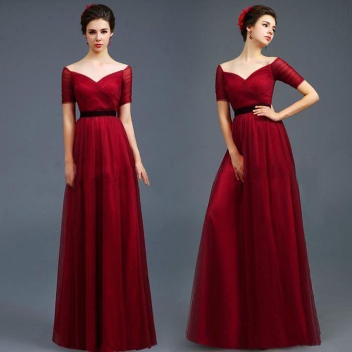 Robe demoiselle d'honneur rouge bordeaux