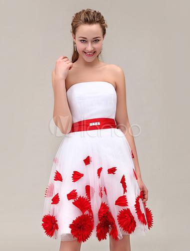Robe demoiselle d'honneur rouge et blanc