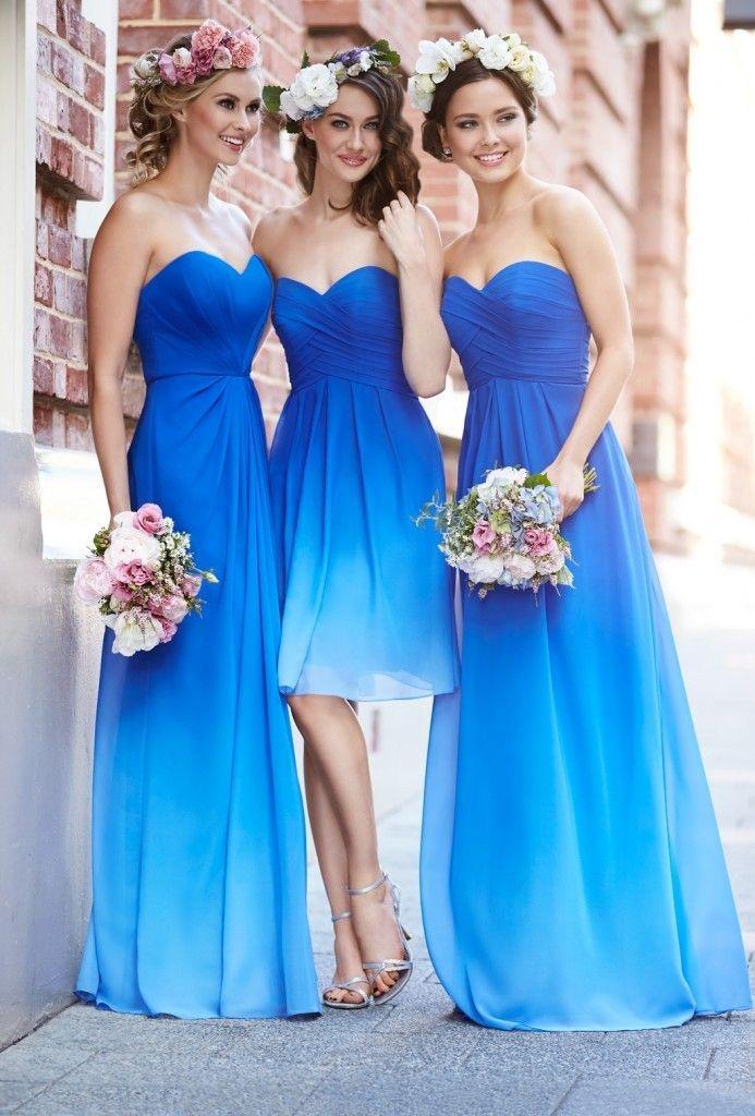 Robe demoiselle d honneur bleu electrique