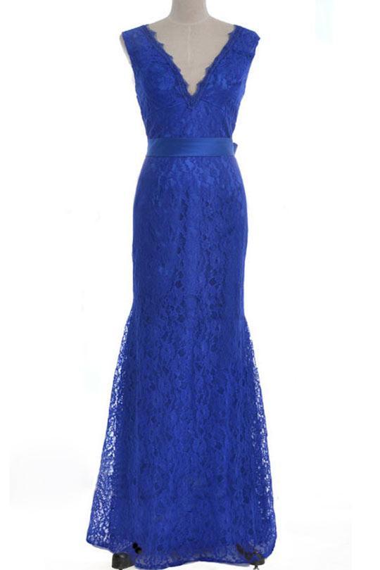 Robe dentelle bleu electrique