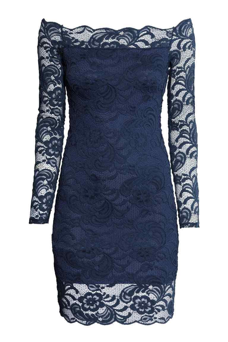 Robe dentelle bleu h&m