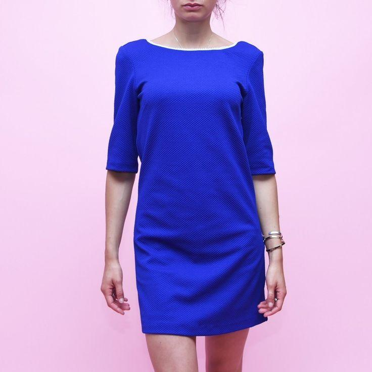 Robe droite bleu electrique