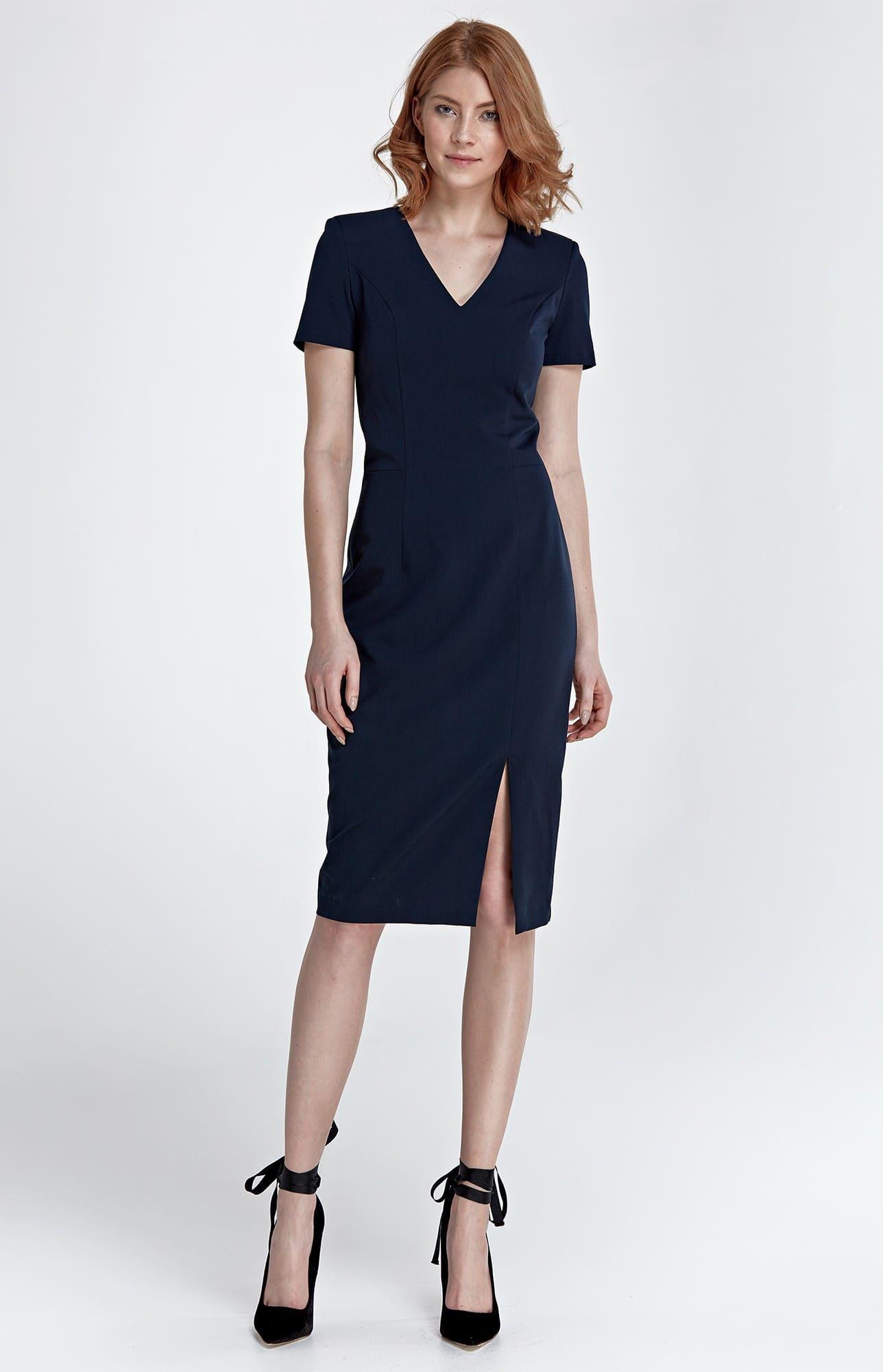 Robe droite bleu marine