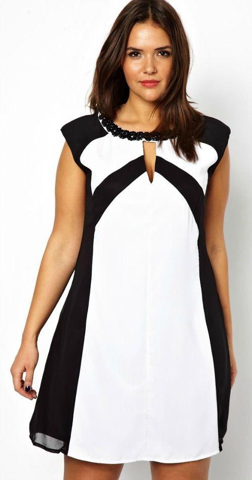 Robe droite noir et blanc