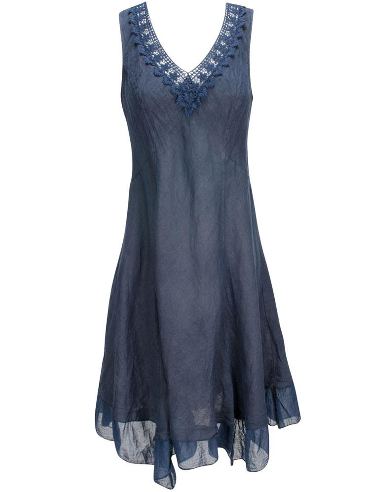 Robe en lin bleu marine