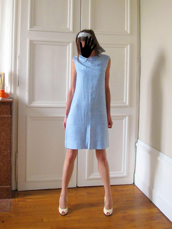 Robe en lin bleu