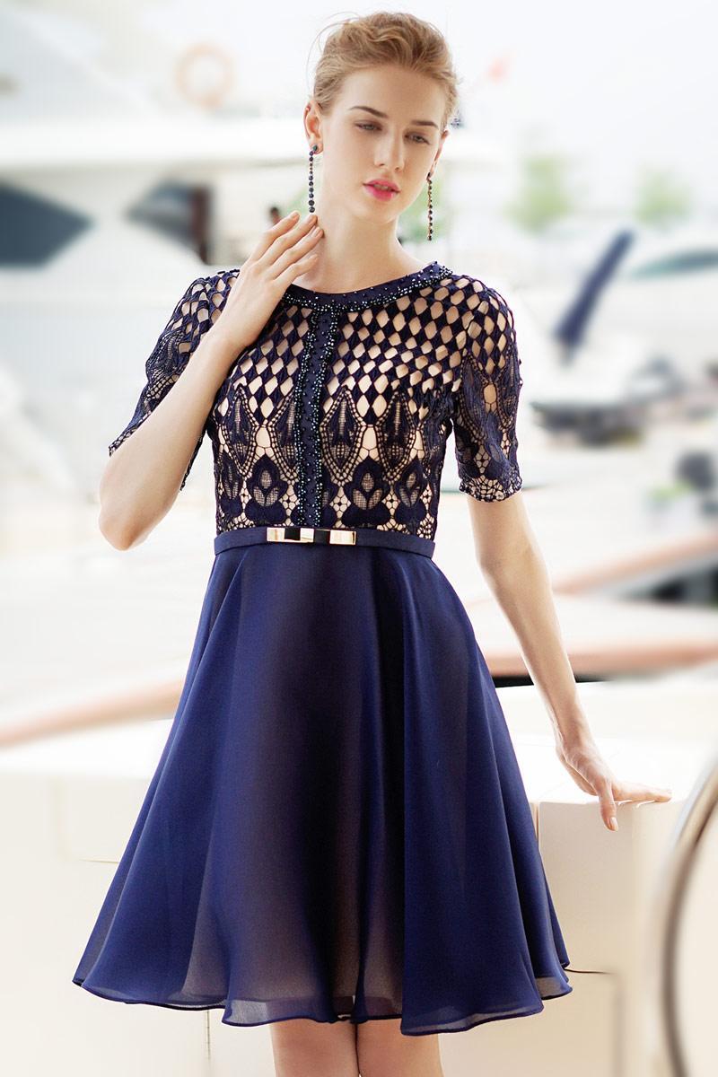 Robe guipure bleu