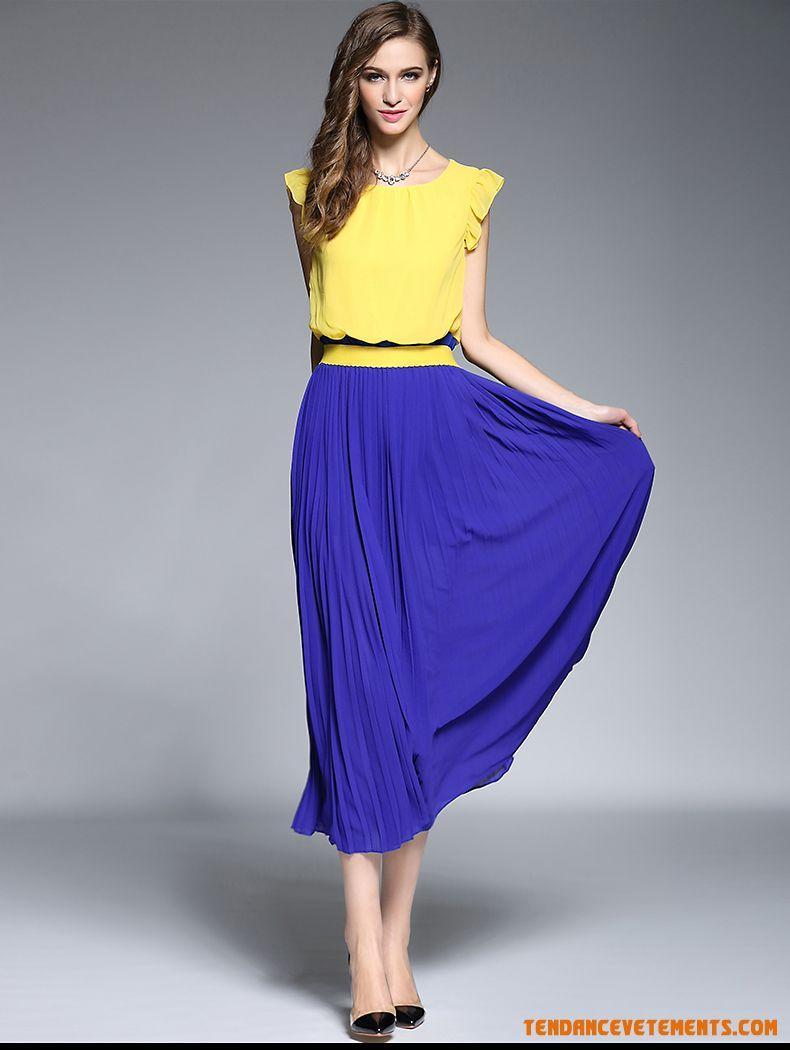 Robe jaune et bleu