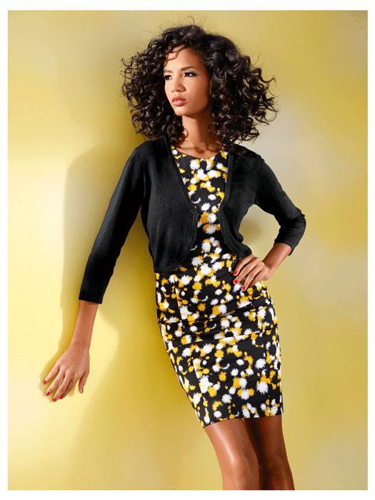 Robe jaune noir