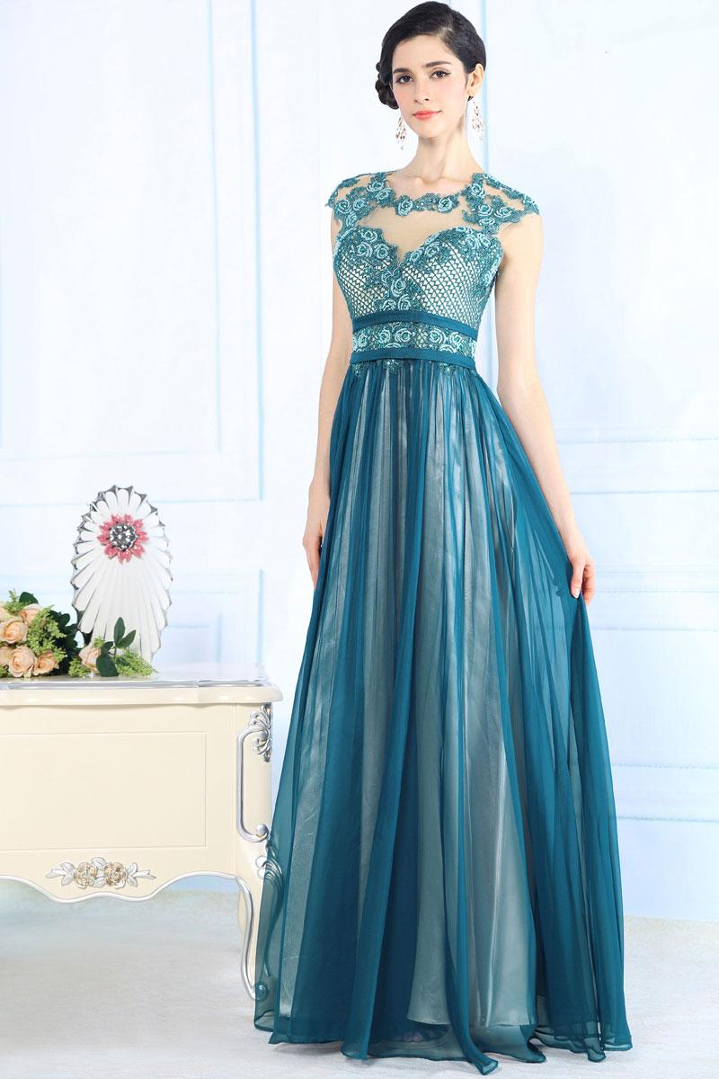 Robe longue bleu canard