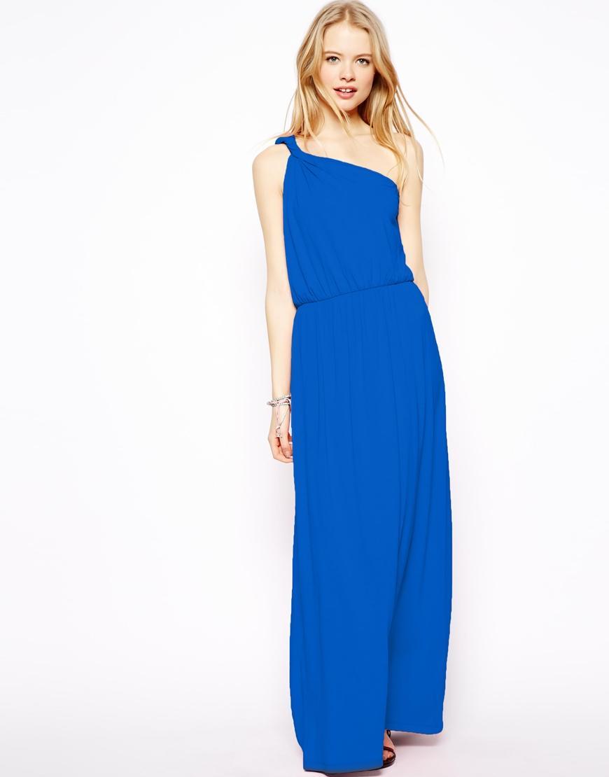Robe longue bleu electrique