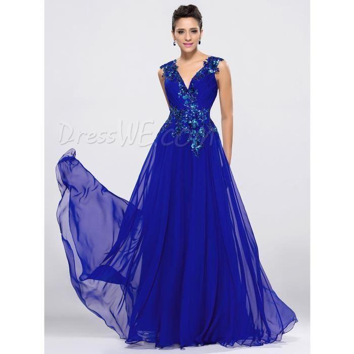 Robe longue bleu royal