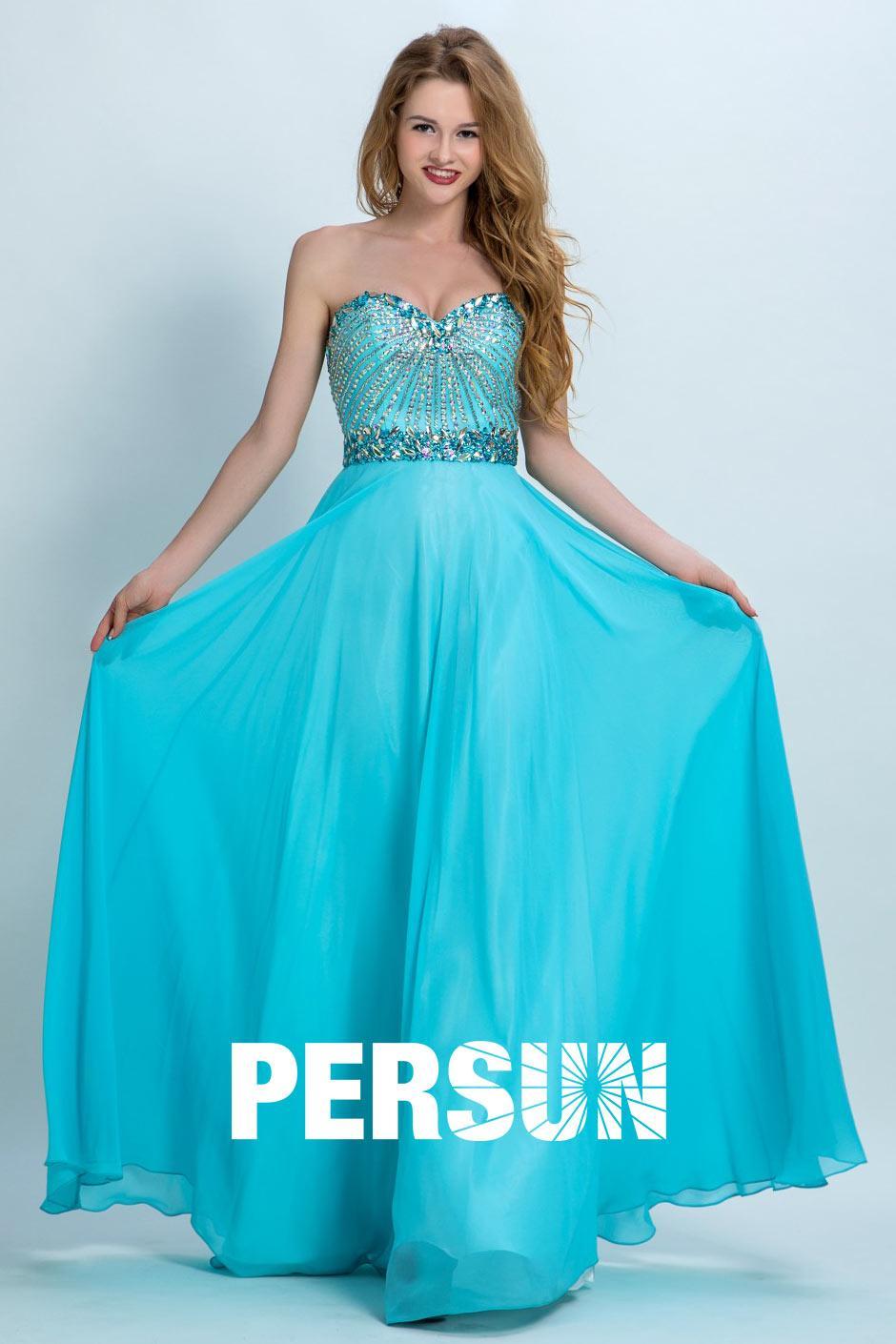 Robe longue bleu turquoise