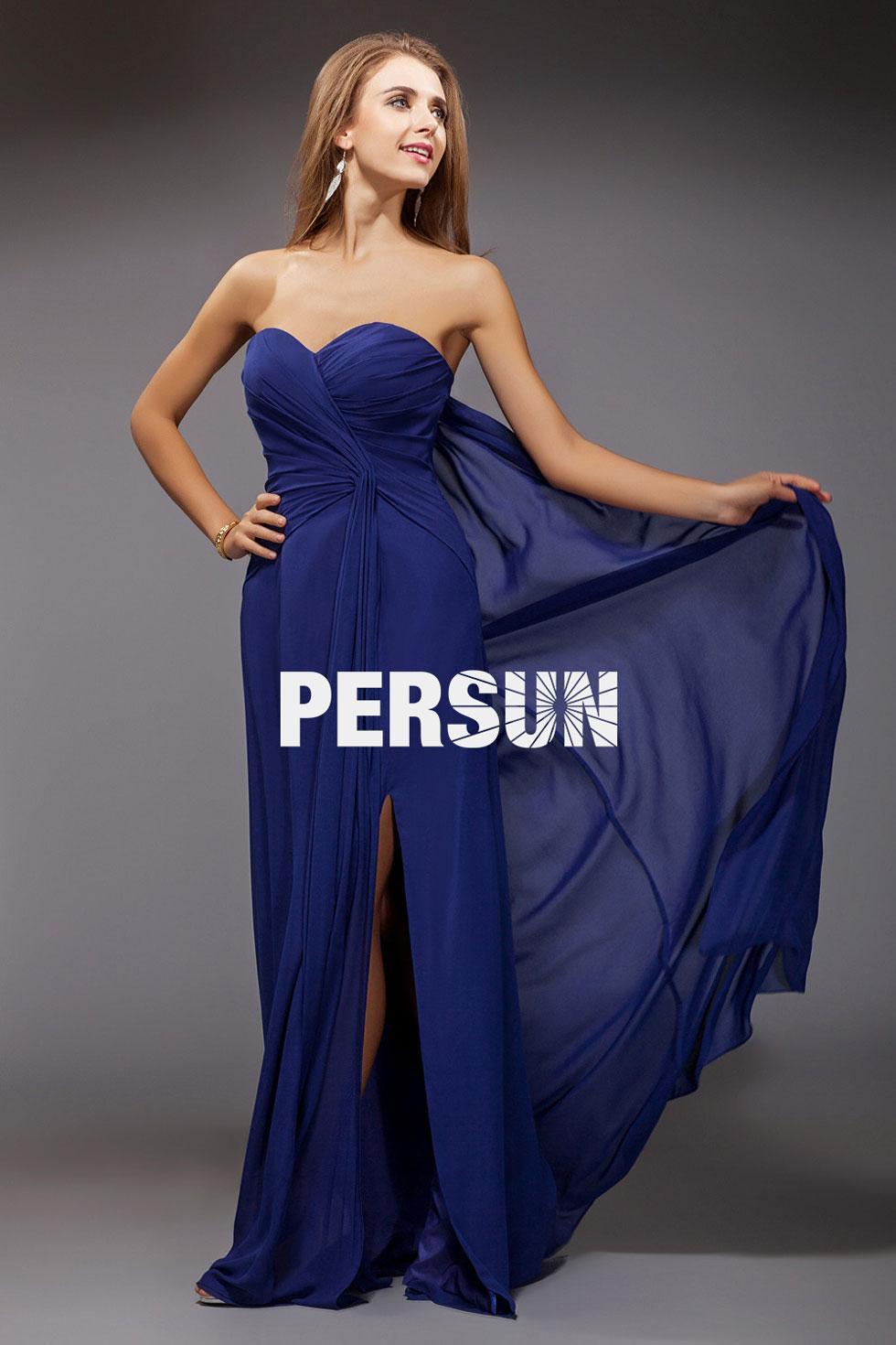 Robe longue bustier bleu