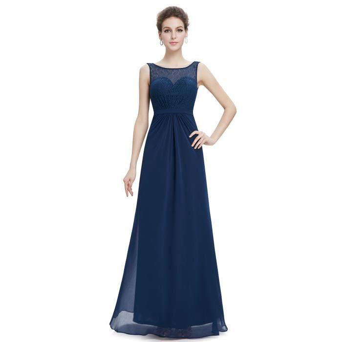 Robe longue dentelle bleu marine