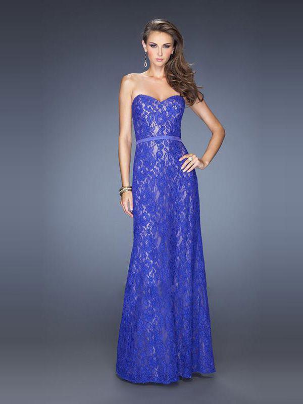Robe longue dentelle bleu